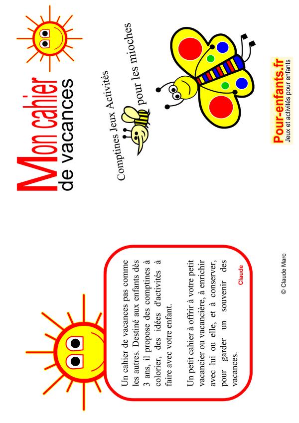 cahier de vacances gratuit imprimer maternelle enfants fabriquer faire couverture cahiers ps ms gs. Black Bedroom Furniture Sets. Home Design Ideas