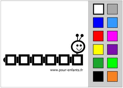 Coloriage en ligne. Chenille. Coloriage tactile maternelle.