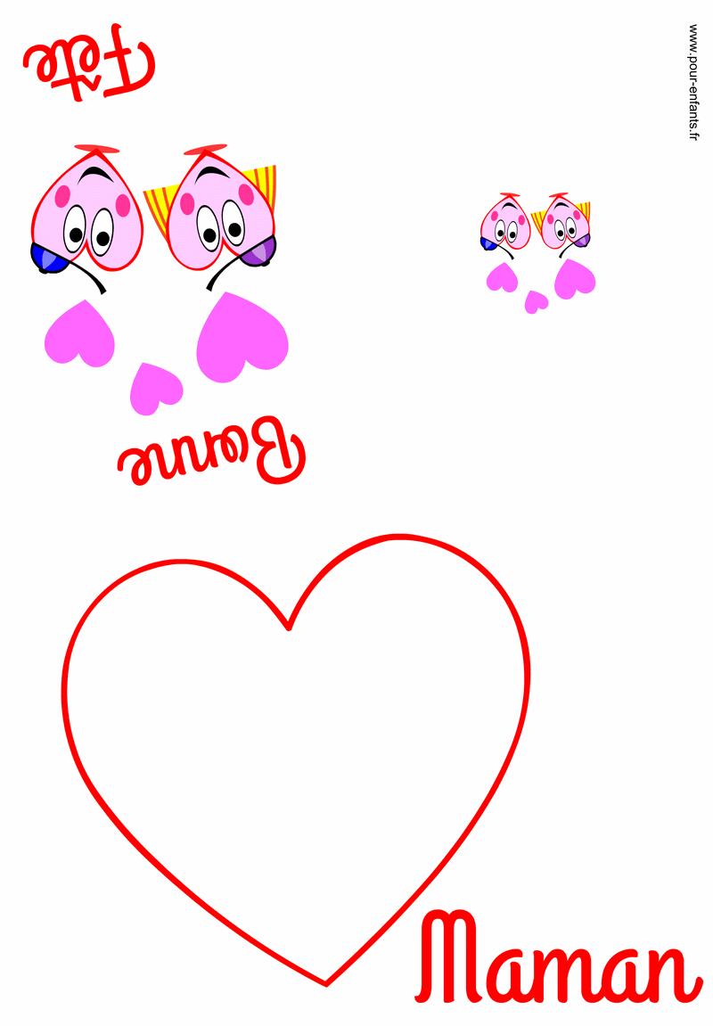 Carte FETE des MERES à imprimer pour maman fête des mères dessin à imprimer pour faire lettre texte coloriage fête des mamans