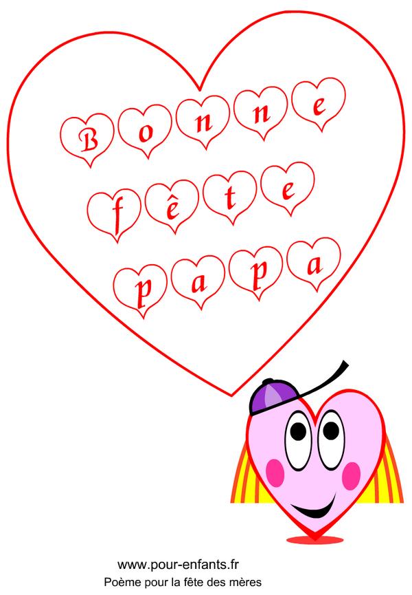 : imprimer des mots d'amour à colorier pour la fête des pères