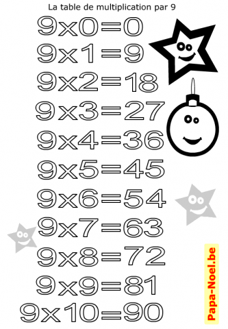 Table de multiplication de 9 imprimer et colorier for Table multiplication de 9