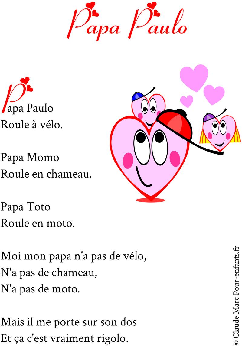 Pour enfants 2017 po mes pour papa a imprimer gratuitement pour la f te des p res - Poeme de noel pour maman et papa ...