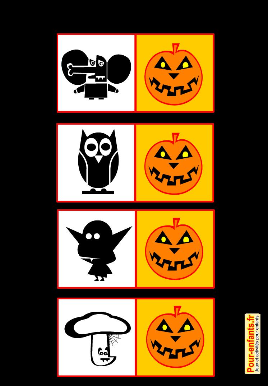 Jeux de memory Halloween à imprimer gratuit pour enfants mémory mémory
