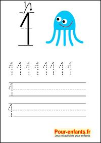 Häufig Ecrire les chiffres en maternelle  Apprendre écriture chiffre 1 un  TB64