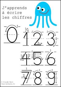 Apprendre à écrire les chiffres en maternelle cahier d'écriture à imprimer gratuit