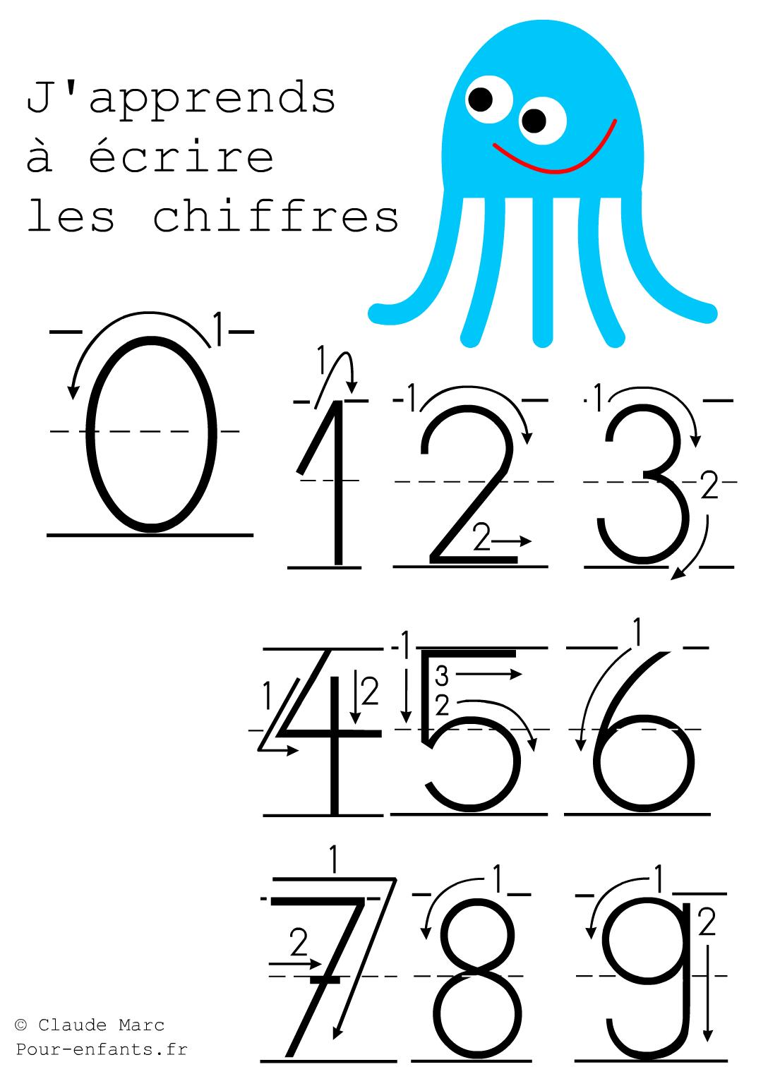 Ecrire les chiffres en maternelle apprendre criture chiffre imprimer cahier de fiches d - Chiffre a imprimer gratuit ...
