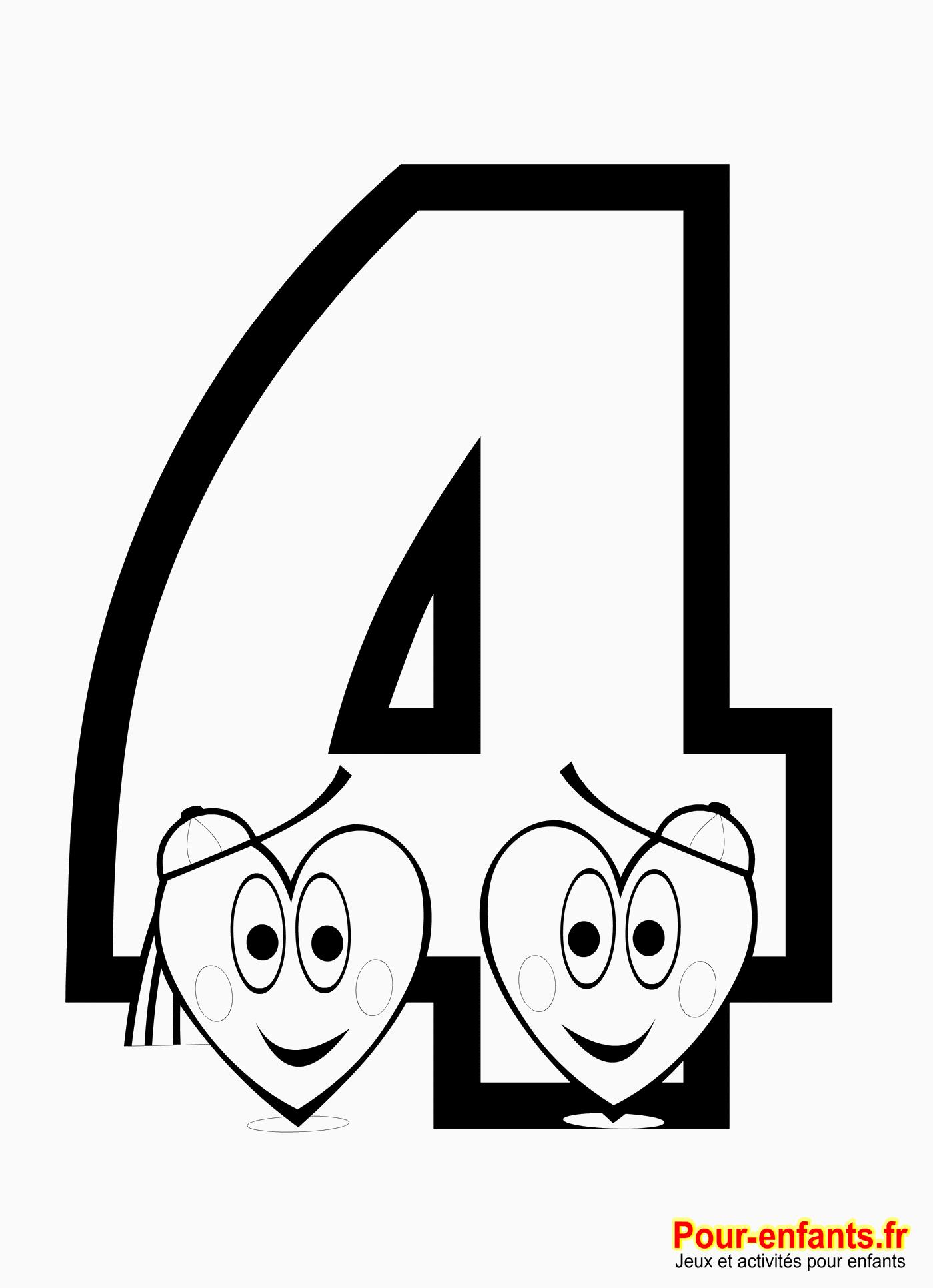 coloriage chiffre 4  imprimer nombre 4 apprendre chiffres nombres coloriage quatre