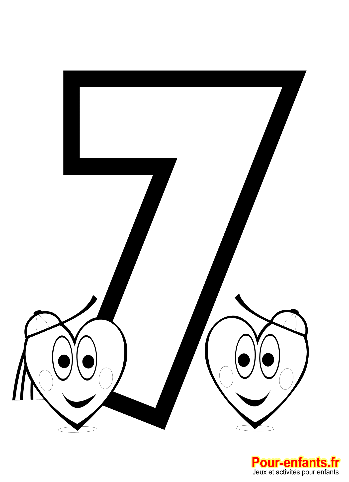 Coloriage chiffre 7 imprimer nombre 7 chiffres sept - Coloriage avec des chiffres ...