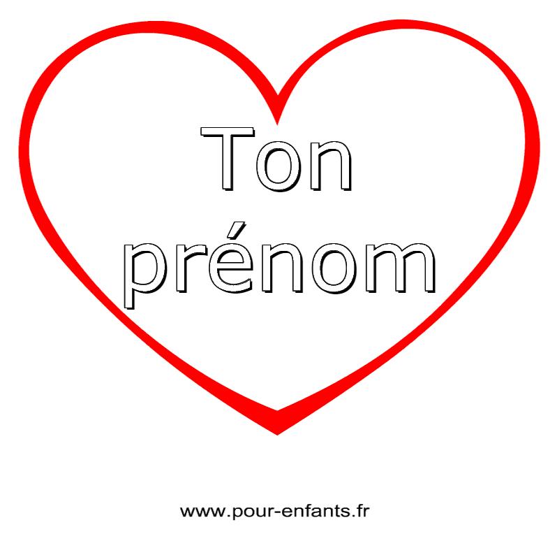 Imprimer son pr nom dans un coeur pour faire un coloriage prenoms enfants maternelle ps ms gs cp - Images avec des coeurs ...