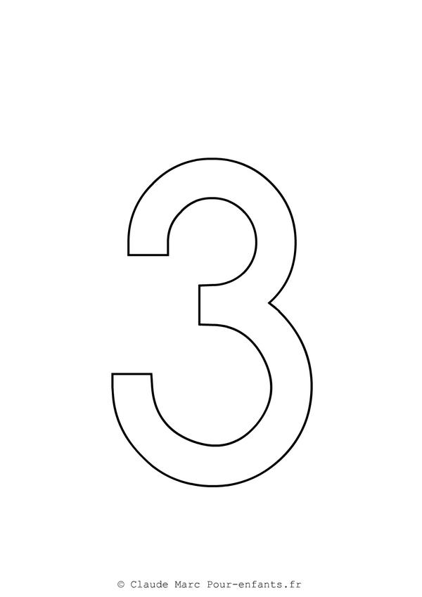 Célèbre Imprimer grands chiffres en maternelle | Coloriage chiffre 3 TROIS  HN27
