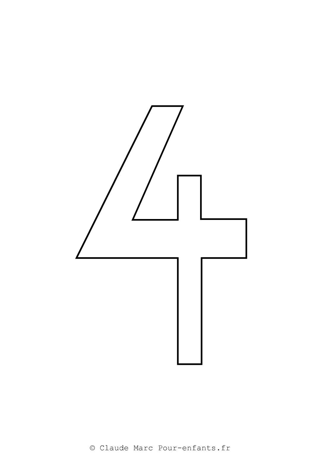 Comment dessiner le chiffre 4 - Chiffre a imprimer ...