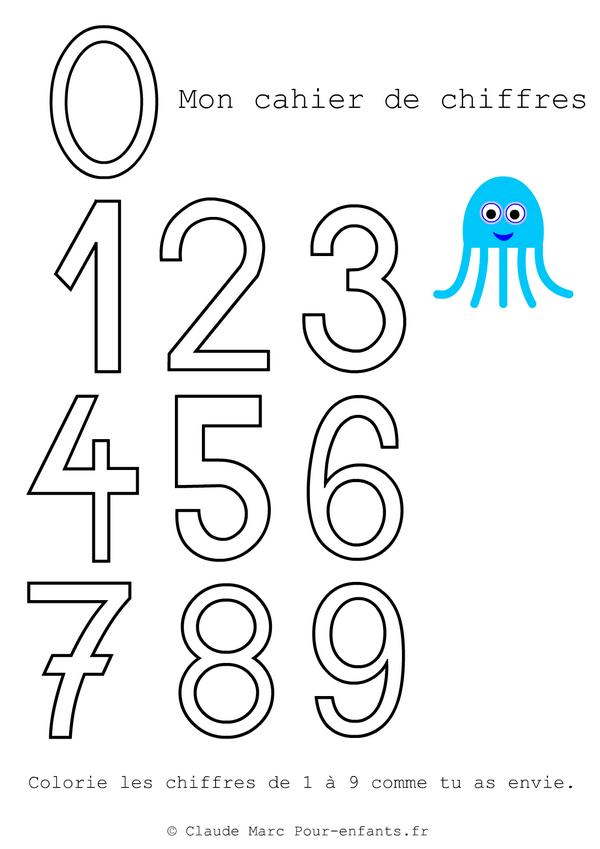 Imprimer des grands chiffres en maternelle gratuit cahier de coloriage