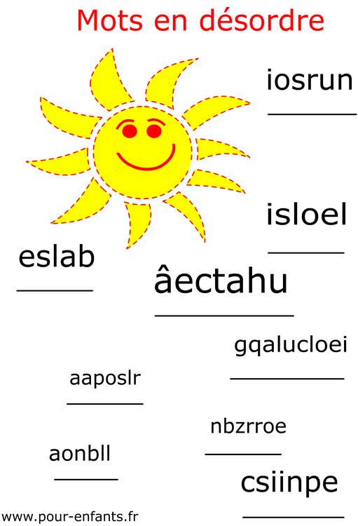 Imprimer jeux de lettres jeux de mots vacances remettre - Jeux de mots coupes gratuits en ligne ...