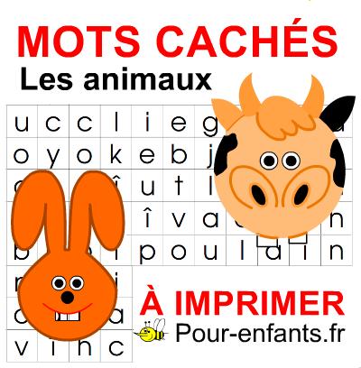 Mots cachés pour enfants à imprimer PDF Jeux de mots meles melanges thème : les animaux