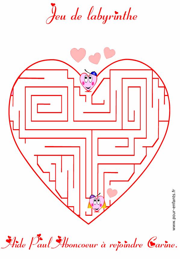 Jeu de labyrinthe à imprimer pour la saint valentin