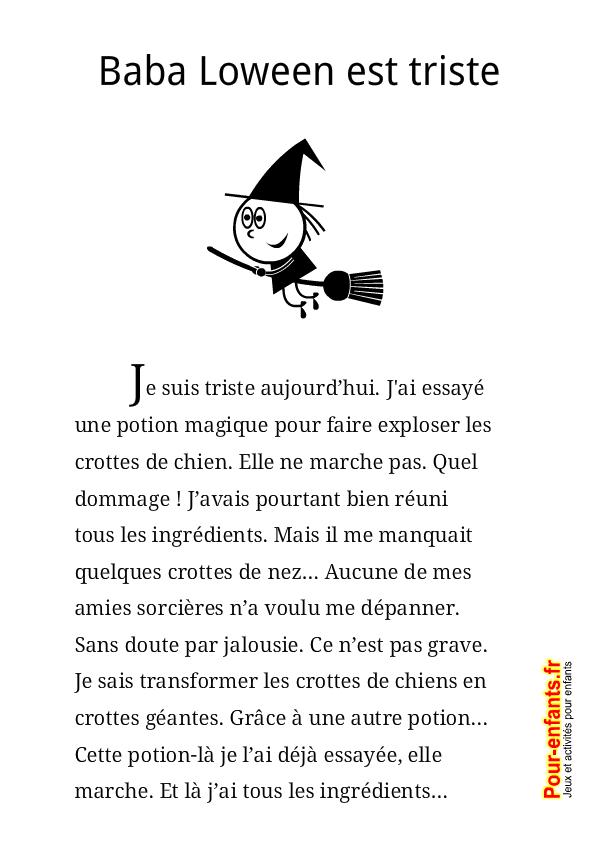 Histoire d 39 halloween texte court avec sorci re jeu de lecture histoires exercices en ligne et - Jeux de sorciere potion magique gratuit ...