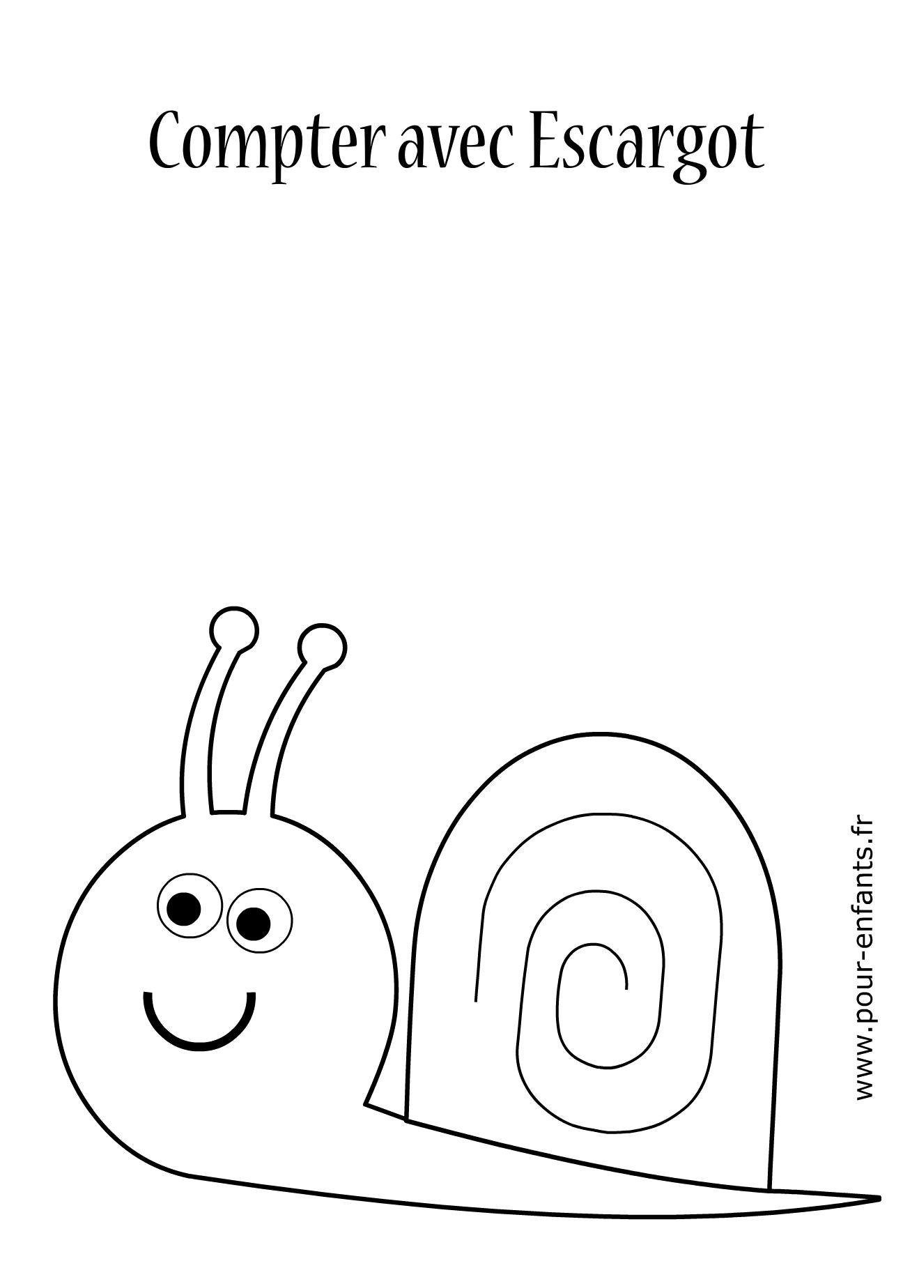 Jeux imprimer maternelle apprendre compter livre - Escargot maternelle ...