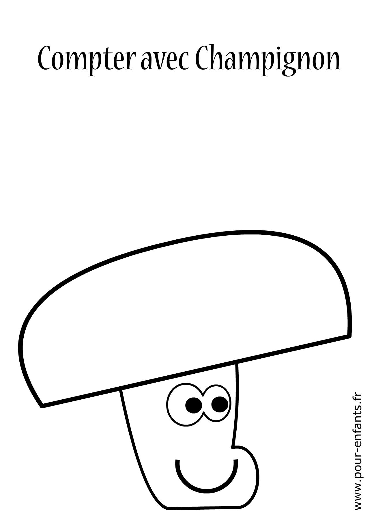 Jeux imprimer maternelle apprendre compter livre - Dessin de champignons a imprimer ...