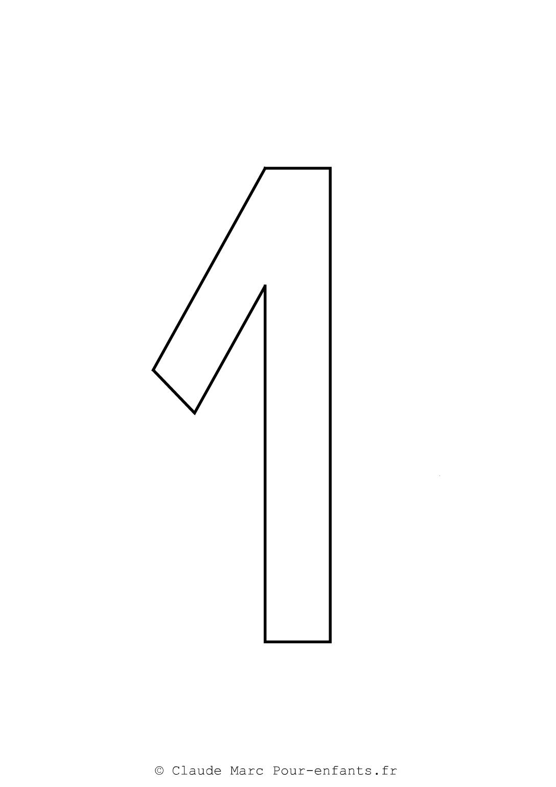 Imprimer grands chiffres en maternelle | Coloriage chiffre 1 UN cahier fiches d activites ...